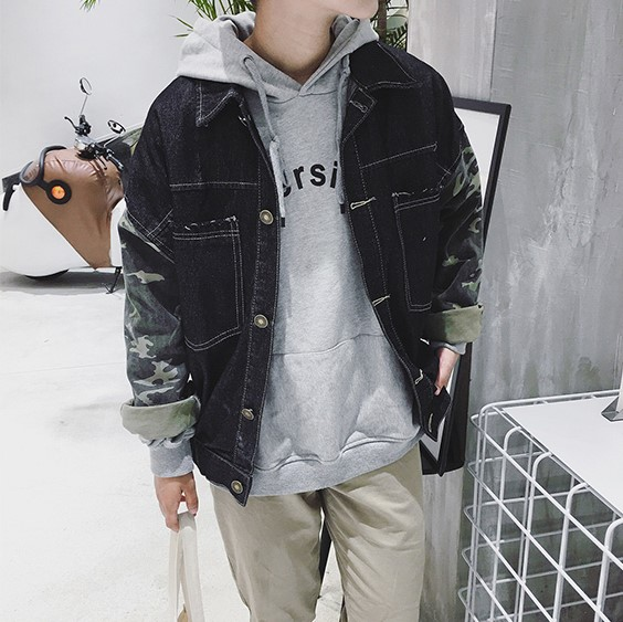 new trendy students denim fashion coat urban street wear denim men jeans jacket tops creative design male jacket