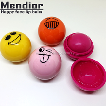 Mendior 2018 New Arrival cute smile face ball shape lip balm organic Moisturizing & Nourishing fancy lip balm