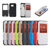 New arrival Window View Armor Flip Leather Case flip cover for galaxy s6 china price