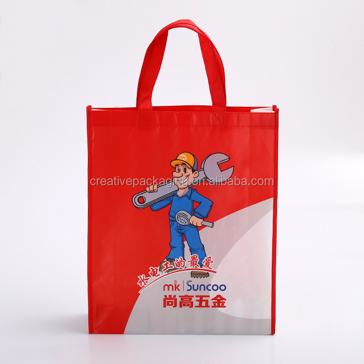 Laminated foldable 90gsm non woven bag shopping with pp webbing handles