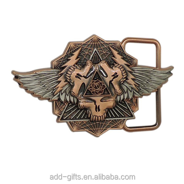 cheap custom 3D gold lion with wing metal belt buckle for business gift