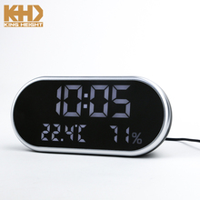 KH-0216 Kingheight Digital LED USB Phone Charger Mirror Alarm Clock with Temperature and Humidity Display