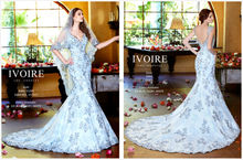Blue Mermaid Wedding Dress 2014 New Arrival V-Neck Backless Long Tail Lace Bridal Gown NB0609
