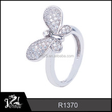 JRL Lovely Butterfly Shaped Rings 925 Sterling Silver Rhodium Plated Jewelry wholesale R1370