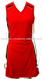 Red Color Women's Designed Tennis Sports Wear