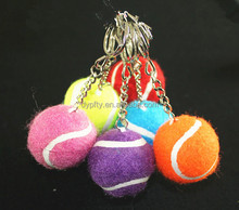 custom printed mini colored tennis ball with keychain