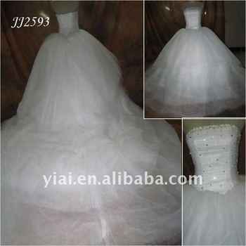 JJ2593 Very Long Tail Puffy White Tulle Wedding Dress Crystal Stones