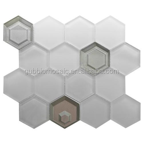 White and silver 3D Hexagon glass mosaic manufactue 3D mosaice tile GB-HX08-3D