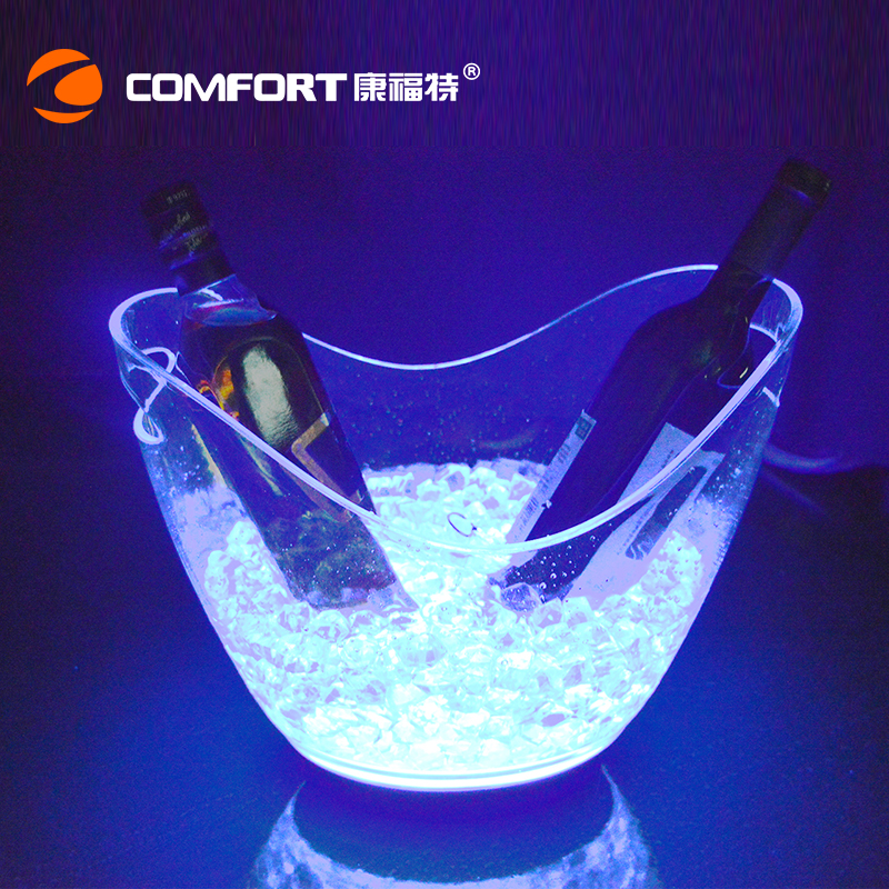 Clear plastic V shape light up ice bucket