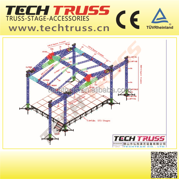 10m * 8m *7.5m Truss Roof System For Outdoor Show Include 2 Wings For sound Speaker