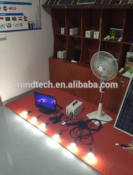 solar home lighting system solar emergency lighting kits with 20W solar panel and 12Ah lead acid battery