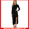 HC 4096 High Quality Cheap Price The Hot Sale Black Waterfall Front draped slim long sleeve side slit cocktail evening dress