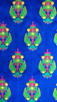 Kutchi Mottif Style Multicolor Thread With Mirror work On Blue Art Silk Fabric.