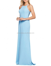 Sky blue comfortable cotton evening dress elegant with sleeveless sexy mermaid lady party gown