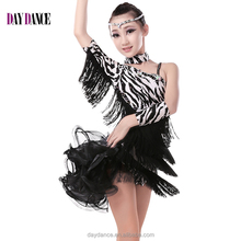 Girls Leopard Sexy Open Back Cocktail Latin Dance Dress Kid Child Unequal Tassel Sleeve Performance Dress