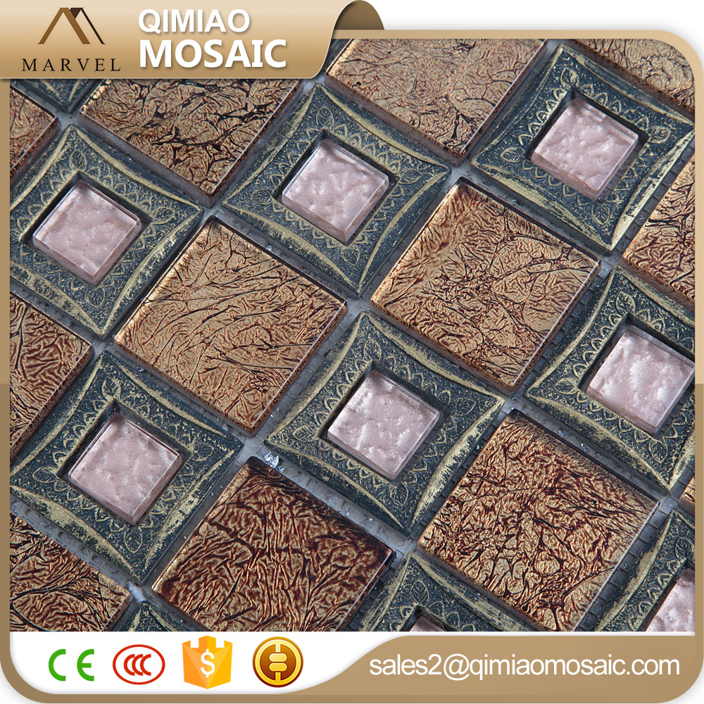 Luxurious Home Design Pink Gold Glass Mosiac Faux Brick Wall Tiles