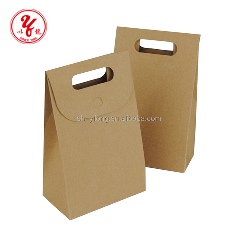 Custom Shopping Flat Bottom Brown Kraft Paper Bag Manufacturer In Malaysia With Handle