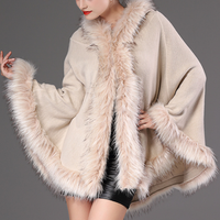 B22323A Europe women hot sale imitation fur collar hooded Knitted cardigan Cloak shawls coat
