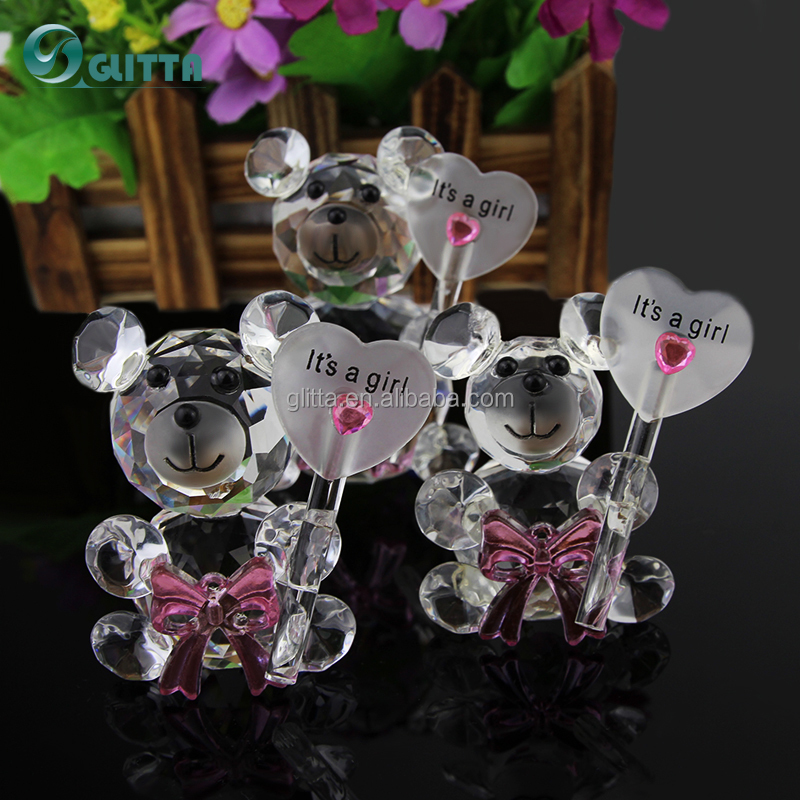 2017 Glitta Crystal Figurines Wholesale Baby Favors Cute Bear Wedding Souvenirs Return Gift For Guest Cg037