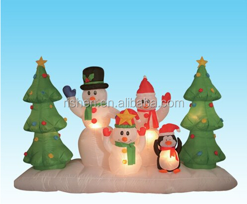 8 Foot Long Inflatable Snowmen Family Around Christmas Trees