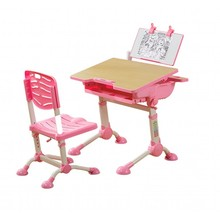 Kids study desk chair set with adjustable table height