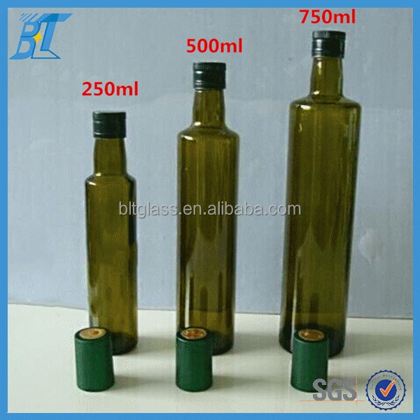 Wholesale Round Green cooking olive oil glass bottle with caps 250ml 500ml 750ml