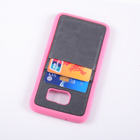 Rubber case PC+PU case with card holder for Samsung galaxy S7 edge