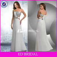 Sexy A-line Sequins Corset Crystal Strapless Beaded Long White Prom Dresses