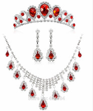 2016 red New Arrival Silver Leaf Necklace Earrings crown for Women Wedding Jewelry Sets Whit Plated Bridal Jewelry Sets