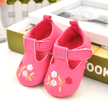 Flowers embroidery leather baby infant girl dress shoes