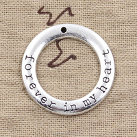 circle forever in my heart Charms Antique Tibetan silver circle charm pendants 28mm