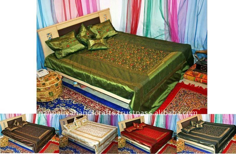 Bordado de seda de lujo camas colchas de la india al por - Colchas de lujo ...