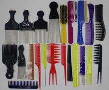 Lice comb with steel pins, plastic hair comb, hair pik