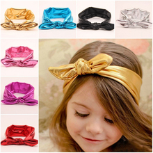 Lovely children kids gold blocking feather shiny knotted plain decorating headband for baby