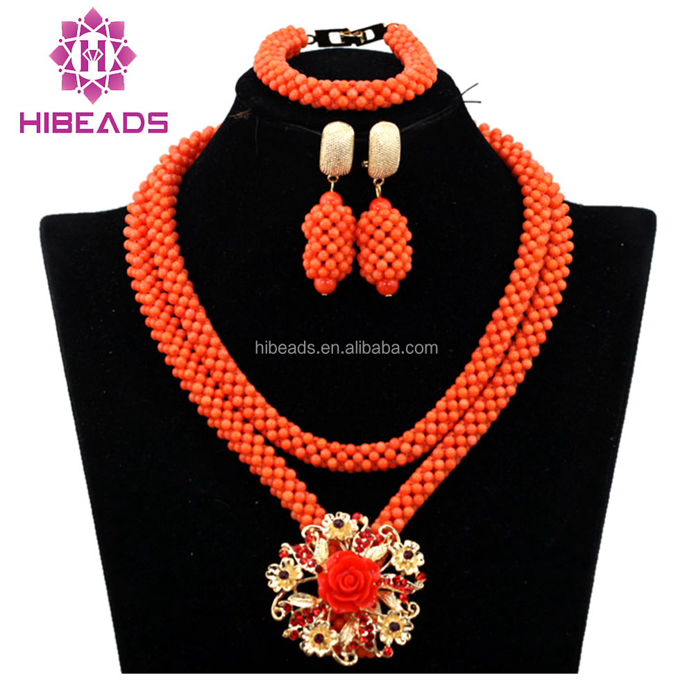 2017 wholesale costume coral beads necklace for women wedding CBN0004