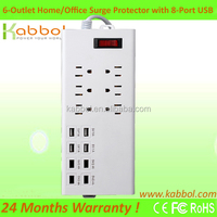 6 Outlet Power Strip Smart Surge Protector 4 AC Plugs and 8 USB Charger Ports Power Adapter 1250W 100-250V Power Strip