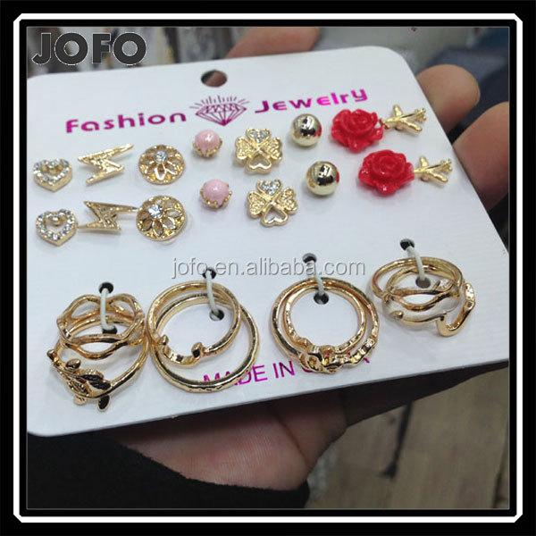 USA 24Pcs Set Fashion Women Lightning Gold Plane Rhinestone Flower Stud Earring Above Knuckle Finger Ring Band Midi Rings Set