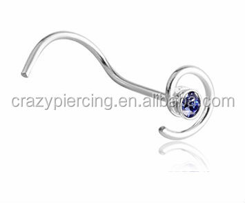 twist unique nose ring piercing bone Spiral Silver Nose Stud