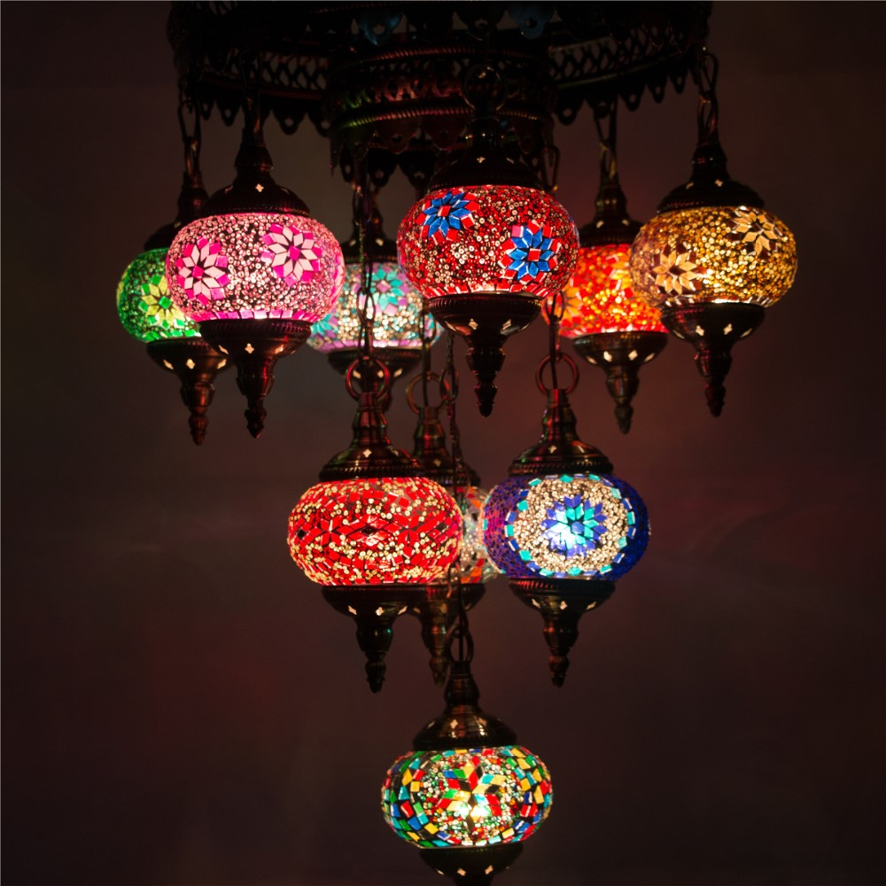 CC10M01 chandelier light handmade mosaic big turkish lamps