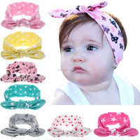 Girls Dot Bowknot Print Floral Headbands Newborn Infant Hair Accessories Children Rabbit Ears Elastic Hair Bands Baby Headwear
