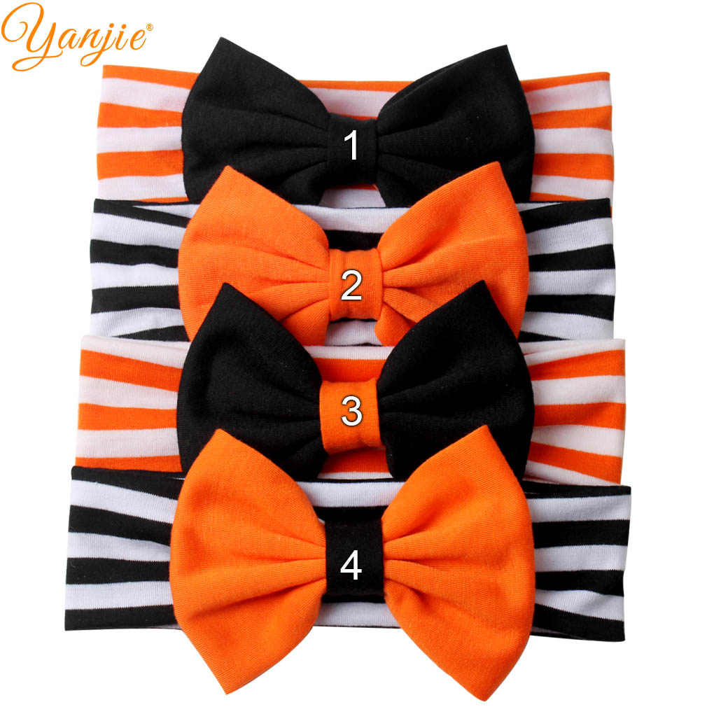 "5"" Cotton Hair Bow Elastic Striped Halloween Festival Headband Kids Girl Photography 2019 New Design Hair Accessories Headwear"