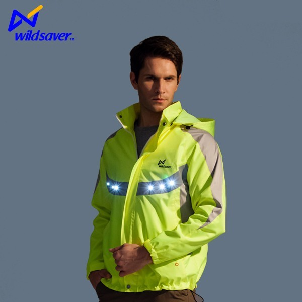 custom cycling clothing reflective LED jacket china manufacture