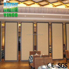 Artistic Fire Resistant Soundproof Acoustic Folding Movable Partition Faced Fabric Sliding Doors