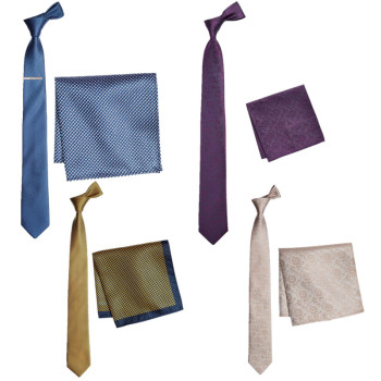 ST0812 Silk Patterned Tie And Pocket Square Set
