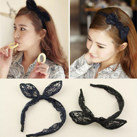 2015 Hot sale girl hair accessories charming lace hair band/Cheap rabbit ears hairband