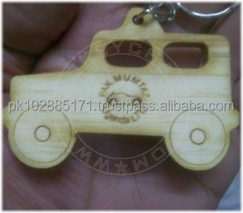 Laser Cut Wooden Jeep Keychain