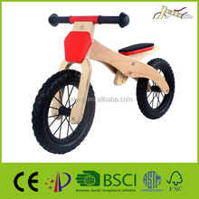 "Classic 12"" Rubber Tires With Steel Hubs Wooden Balance Bike as children toy bicycles"