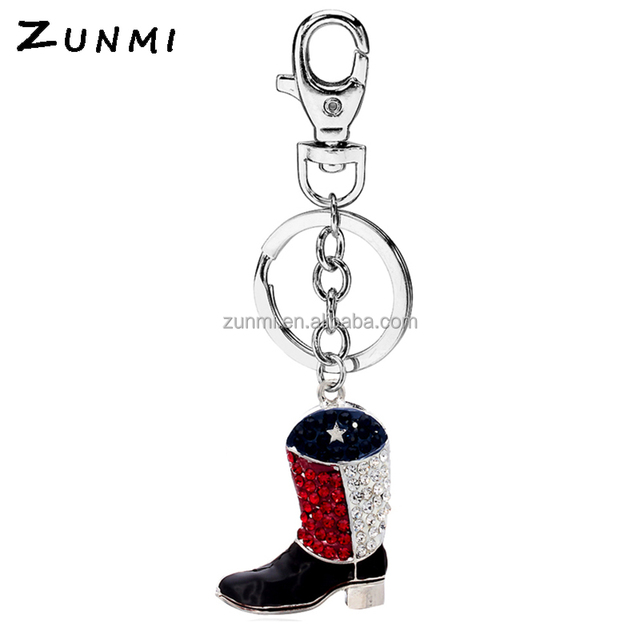 2018 hotsell Cowboy Boots shaped metal keychain men fashion customized mini shoe keychains
