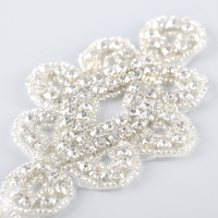 Garment accessory 6.3 * 9.8 cm custom made size iron on crystal beaded rhinestone applique work designs for dresses