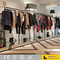New design lady clothes store interior decoration commercial clothes display showcase for sales